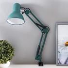 Лампа настольная Е27, h=55 см, шарнирная, на зажиме (220В) зеленая - фото 7931683