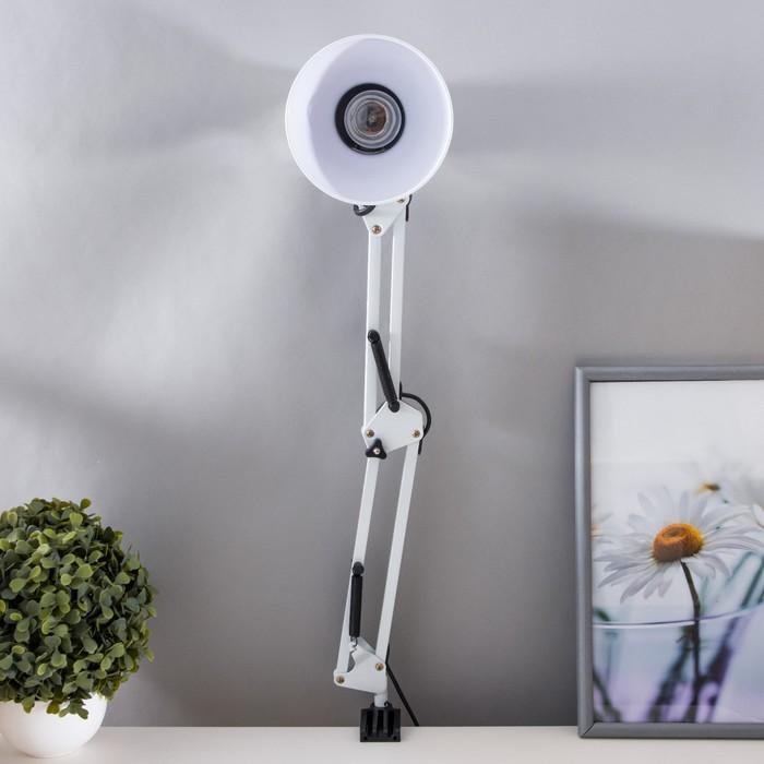 Настольная лампа на струбцине, 55 см, белая