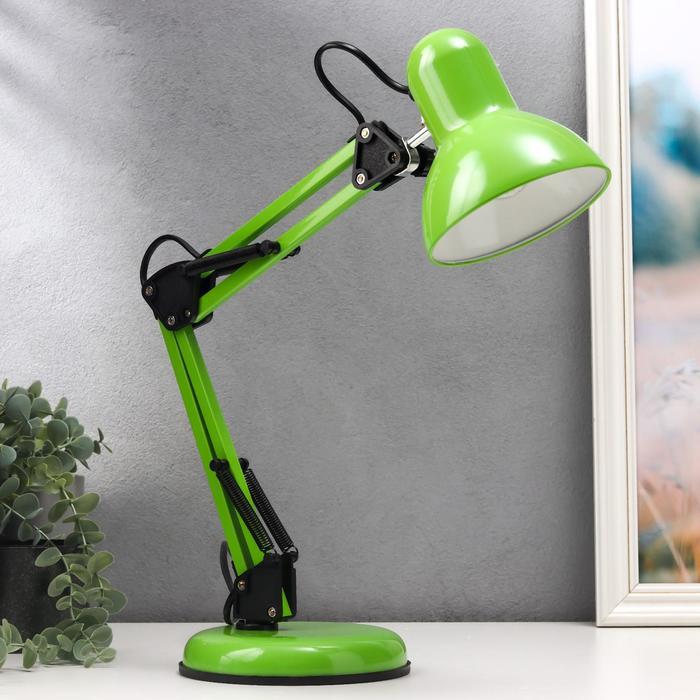 Лампа настольная Е27, h=55 см, шарнирная, на подставке (220В) зеленая МИКС - фото 7931690