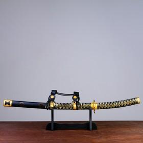 Сувенирное оружие «Катана на подставке», чёрные ножны, бежево — коричневая обмотка, 78см
