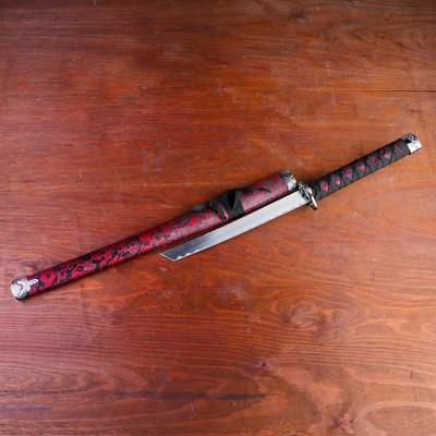 Сувенирное оружие «Катана на подставке», чёрные ножны с красным узором, 70см
