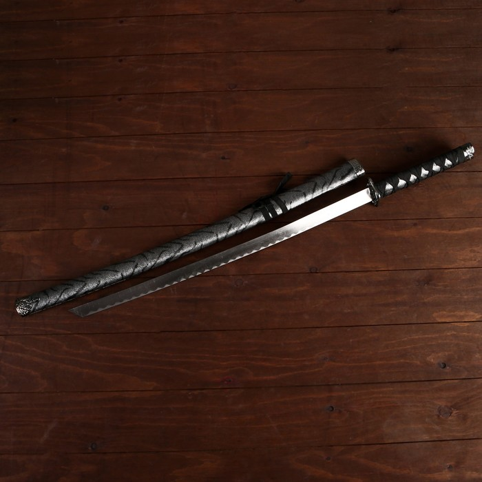 Сувенирное оружие «Катана на подставке», серые ножны под зебру