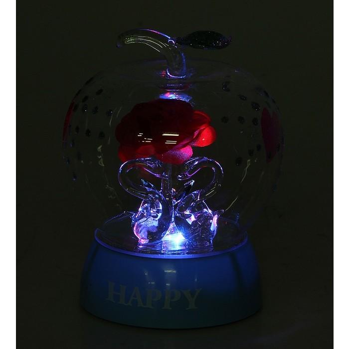 """Сувенир шар свет """"Два лебедя с алой розой в яблочке"""""""