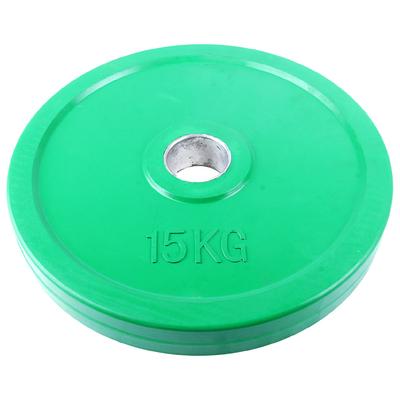 Диск для грифа, обрезиненный, цвет: зеленый, 15 кг, d=50