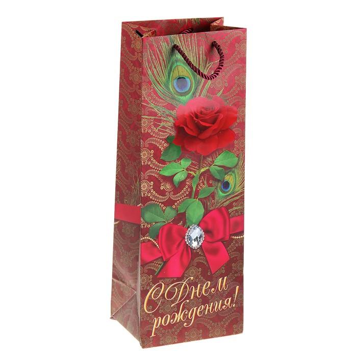 Пакет ламинированный под бутылку «Богема», 13 × 36 × 10см