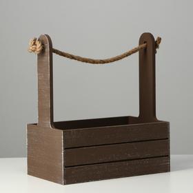 """Кашпо деревянное 25.5×15×30 см """"Прованс"""", ручка канат, коричневый - фото 7349881"""