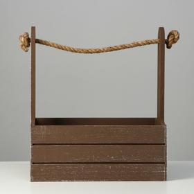 """Кашпо деревянное 25.5×15×30 см """"Прованс"""", ручка канат, коричневый - фото 7349882"""