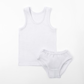 Set for girls (T-shirt, shorts), white, height 98-104 cm (56).