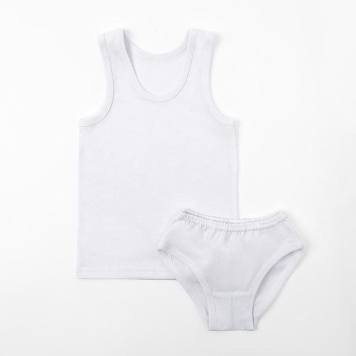 Комплект для девочки (майка, трусы), цвет белый, рост 128-134 см - фото 76557597
