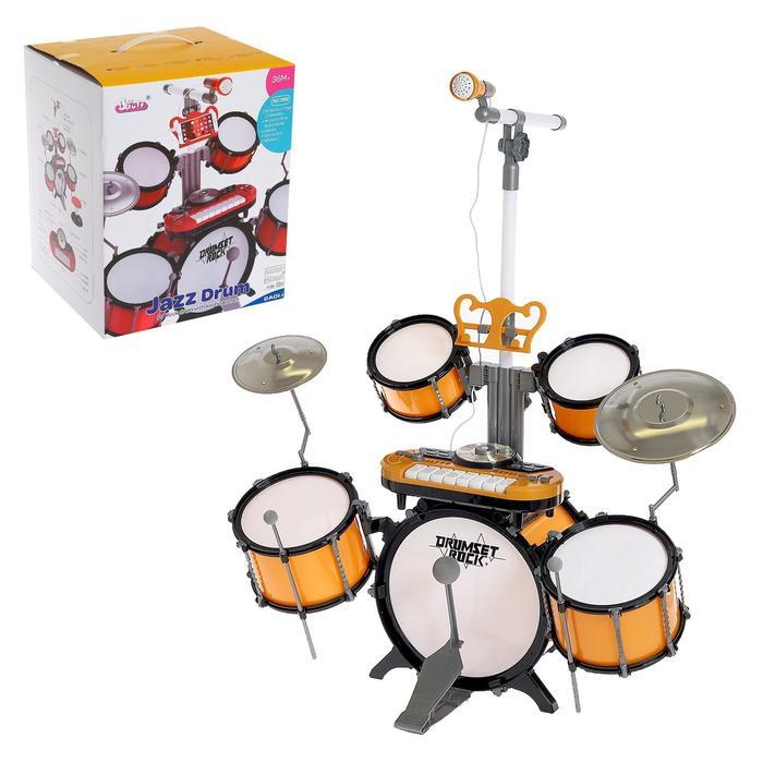 Барабанная установка «Универсальный музыкант», с синтезатором, микрофоном и стульчиком - фото 106985164