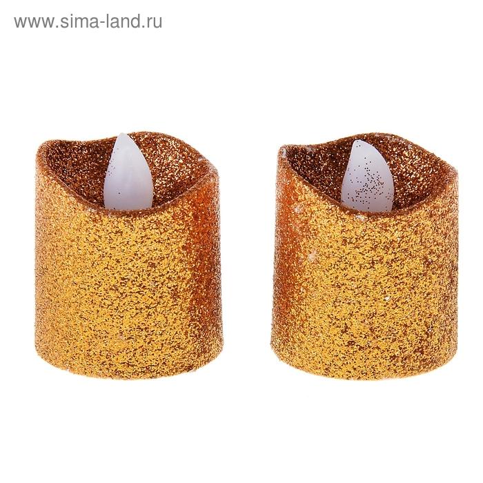 """Светильник-свеча """"Блестки"""" оранжевый, набор 2 шт"""