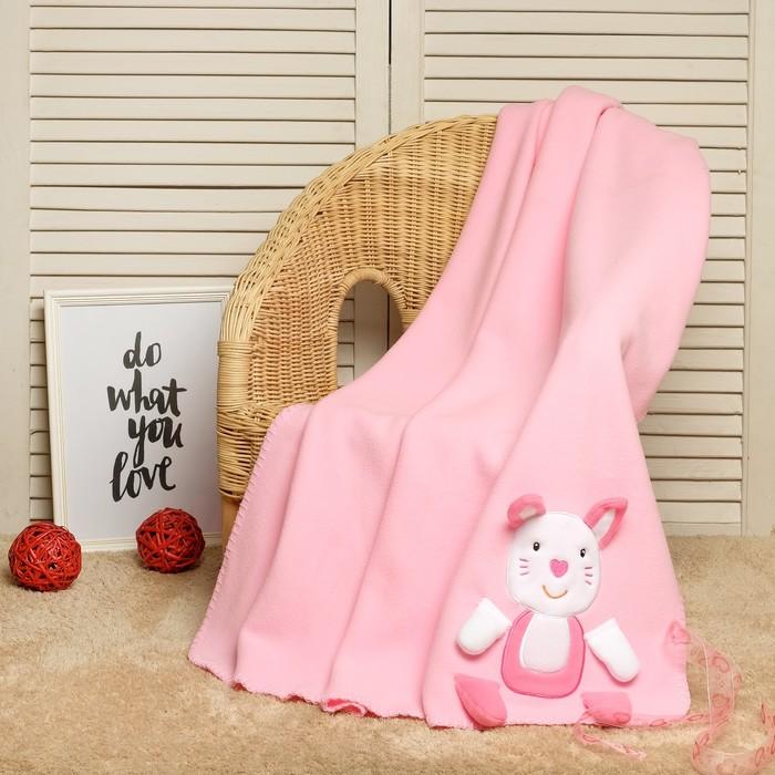 """Плед-игрушка для новорождённых """"Этелька"""" Зайчик пинк, размер 75х100 см"""