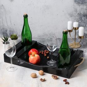 """{{photo.Alt    photo.Description    'Поднос для вина """"Авторский"""", 50 х 30 х 7 см, массив ясеня, цвет-черный'}}"""