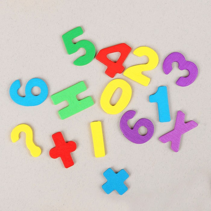 "Счётный материал ""Счёты, цифры и знаки"" с часиками, 62 элемента"