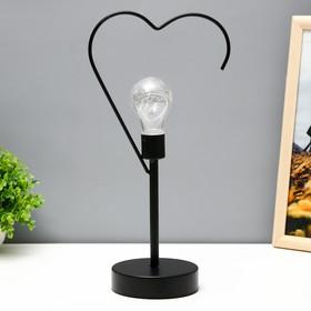 """Ночник настольный """"Сердце"""" LED от батареек 3хААА черный 11х16,5х36,4 см"""