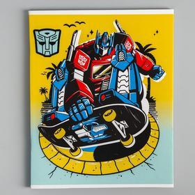 """Тетрадь 48 листов в клетку, картонная обложка """"Трансформеры"""", Transformers"""