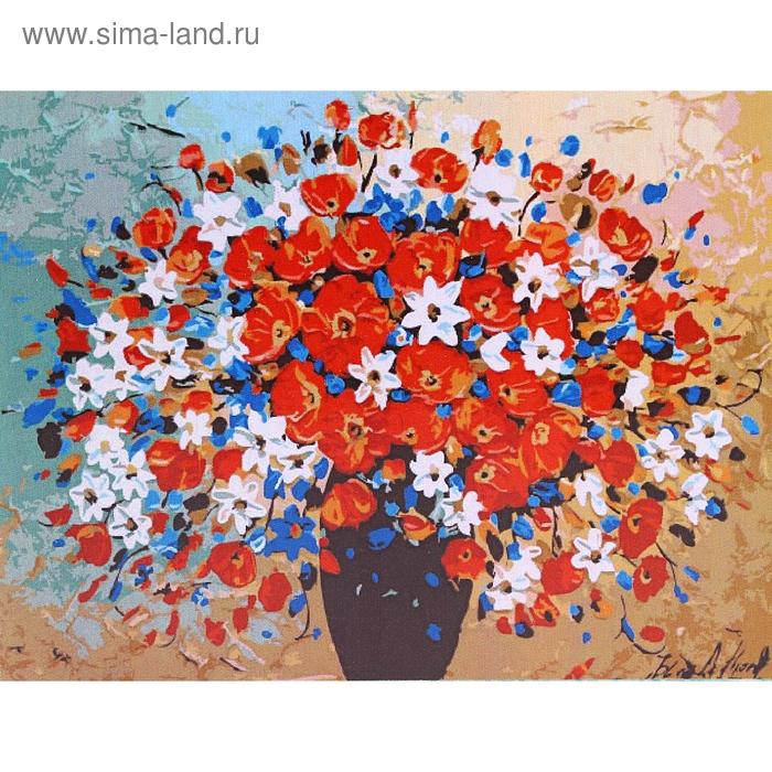 """Роспись по холсту """"Цветы"""" по номерам с красками по 3 мл + кисти + инструкция + крепеж"""