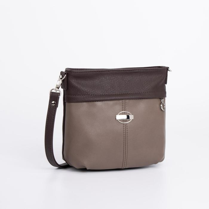 Сумка женская, отдел на молнии, наружный карман, регулируемый ремень, цвет коричневый - фото 785268