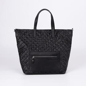 Сумка-шопер Медведково, отдел на молнии, 2 наружных кармана, длинный ремень, цвет чёрный