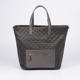 Сумка-шопер Медведково, отдел на молнии, 2 наружных кармана, длинный ремень, цвет коричневый