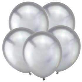 """Шар латексный 5"""" «Зеркальные шары», водные бомбочки, хром, серебро, набор 50 шт."""