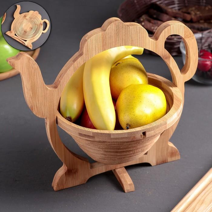 Корзинка многофункциональная для фруктов и хлеба/разделочная доска, 2 в 1, 30 × 26,5 × 22,5 см