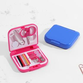 Sewing kit in folding plastic box, color MIX