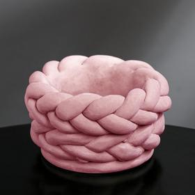 Кашпо гипсовое «Вязка», цвет розовый, 13 × 7.7 см