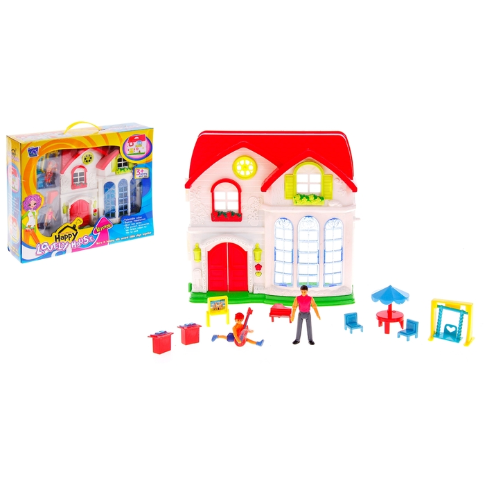 Дом для кукол, с фигурками и аксессуарами, световые и звуковые эффекты, работает от батареек, МИКС