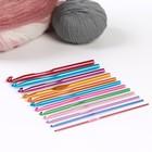 Крючки для вязания металлические, d=2.0-8.0мм, 14,5см, 12шт, цвет МИКС
