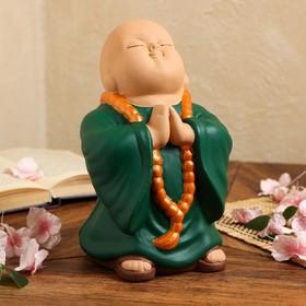 """Копилка """"Монах"""" зеленый, 23,5 см"""