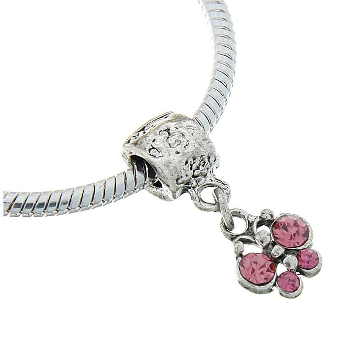 """Подвеска """"Бабочка"""", цвет розовый в серебре"""