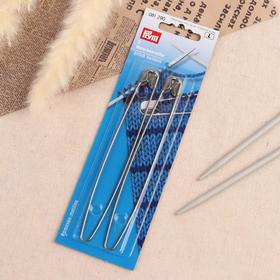Набор вспомогательных булавок для вязания, 2 шт, 13 см, цвет серебряный