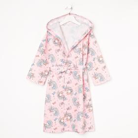 Халат для девочки НАЧЁС, цвет розовый/принт луна, рост 92 см