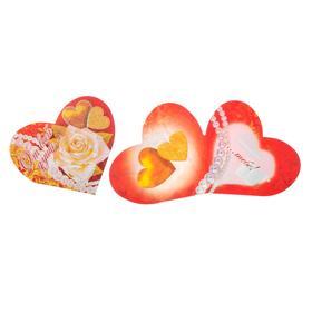 """Открытка-валентинка """"От всей души ..."""" роза, два золотых сердца"""