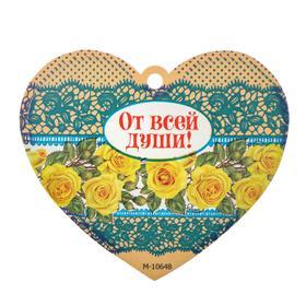 """Открытка-валентинка """"От всей души!"""" конгрев, желтые розы, синие кружева"""
