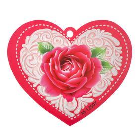 """Открытка-валентинка """"Универсальная"""" пластизоль, роза, белый узор"""