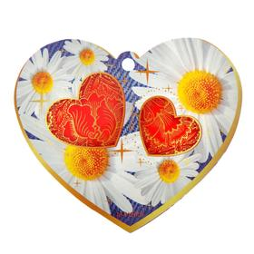 """Открытка-валентинка """"Универсальная"""" ромашки, два сердца"""