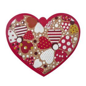 """Открытка-валентинка """"Универсальная"""" пластизоль, сердца, крафтовый фон"""