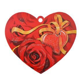 """Открытка-валентинка """"Универсальная"""" красные розы, желтая лента"""
