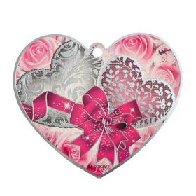 """Открытка-валентинка """"Универсальная."""" фольга, серое сердце, фиолетовый бант"""