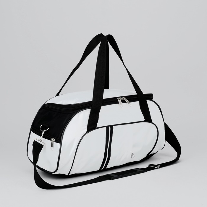 Сумка дорожная, 1 отдел, 3 наружных кармана, ремень, цвет бело-черный