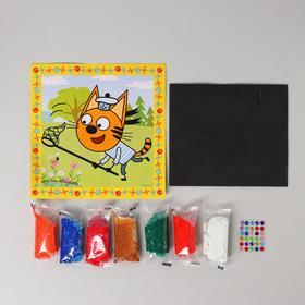 Аппликация ЕВА шариковым пластилином и стразами, 21 × 21 см, «Три Кота»
