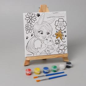Canvas for painting 15 * 15, Enchantimals Brie Krolya and Twist with glitter 26734-EN