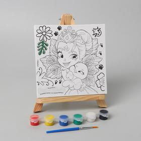 Canvas d / painting 15 * 15 Enchantimals Patter Peacock and Flap with glitter 26735-EN