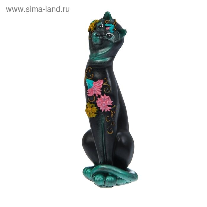 """Копилка """"Кошка Анжелика"""" чёрно-голубая"""