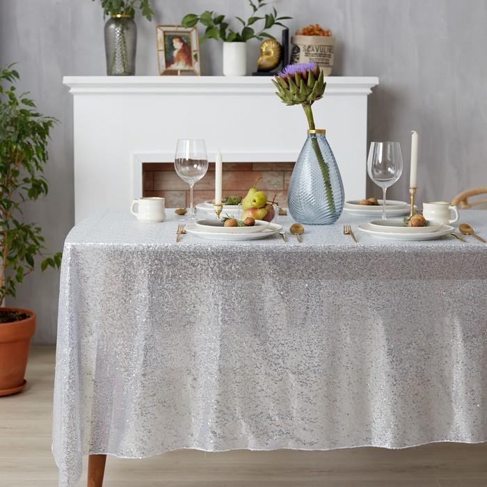 Скатерть с пайетками, цвет серебро, 150х150 см - фото 785647