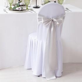 Декор для стула, цв.серебро, 14*275 см, 100% п/э