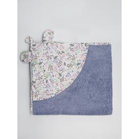 Полотенце детское с уголком «Птички», размер 90х90 см, цвет лаванда