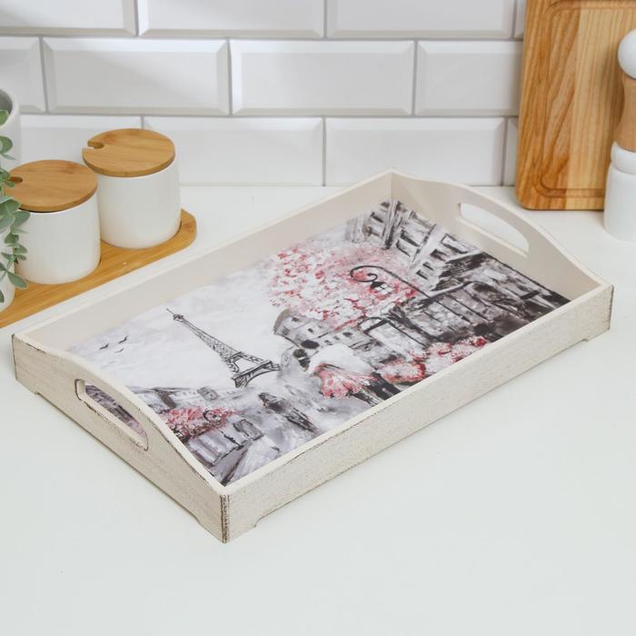 "Поднос деревянный для завтрака ""Прованс. Париж, Эйфелева башня"", 43×27.5×7 см, бежевый - фото 998928"